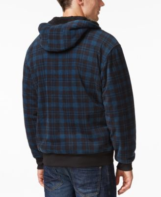Weatherproof Vintage Mens Big and Tall Plaid Sherpa-Lined Hoodie
