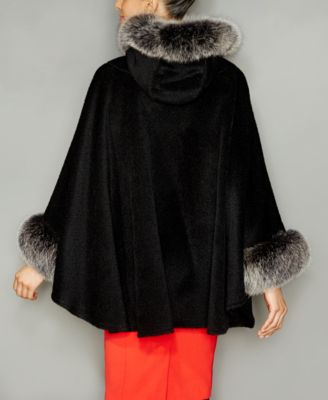 The Fur Vault Fox-Trim Wool-Alpaca-Ble..