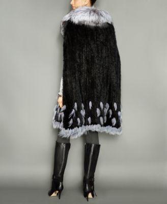The Fur Vault Fox-Fur-Trim Knitted Mink Fur Cape
