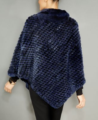 The Fur Vault Knitted Rabbit Fur Poncho