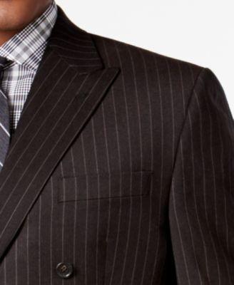 Lauren Ralph Lauren Mens Classic-Fit Ultraflex Dark Brown Pinstripe Flannel Double Breasted Suit