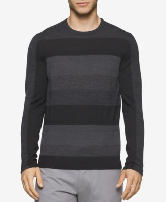 Calvin Klein Mens Striped Merino Sweater