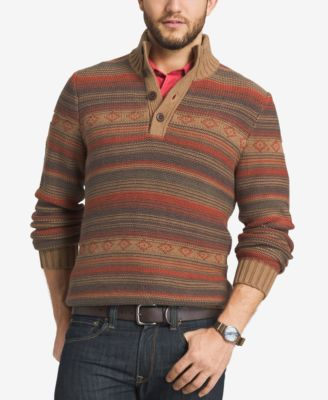 G.H. Bass & Co. Mens Striped Three-Button Sweater