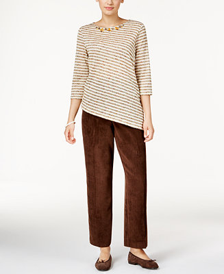 Alfred dunner petite striped top corduroy pants all for Alfred dunner wedding dresses