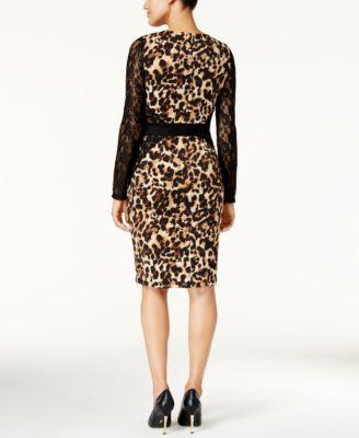 Thalia Sodi Lace-Sleeve Animal-Print Dress