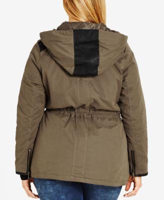 City Chic Trendy Plus Size Faux-Leather-Trim Anorak
