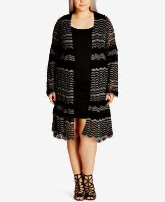 City Chic Trendy Plus Size Illusion Duster Cardigan