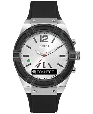 guess s connect black silicone smart 45mm