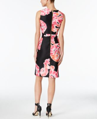 Calvin Klein Tie-Dyed Floral-Print Sheath Dress