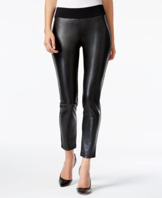 Alfani PRIMA Faux-Leather-Front Skinny Pants