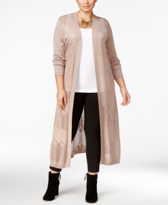 Belldini Plus Size Pointelle-Stitch Long Duster Cardigan