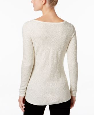 Charter Club Metallic Jacquard Sweater