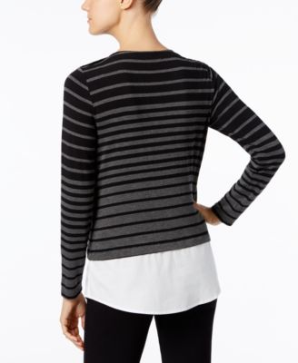Calvin Klein Striped Layered-Look Swea..