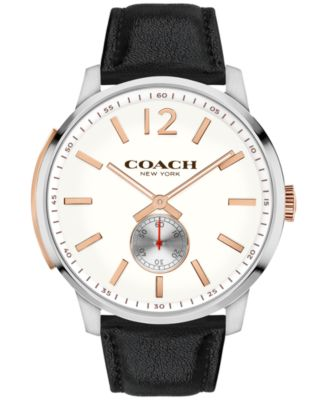 COACH Men's Bleecker Black Leather Strap Watch 46mm 14602081