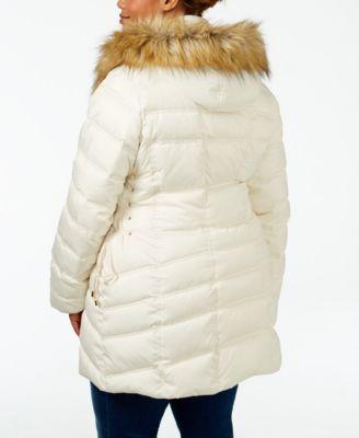 Betsey Johnson Plus Size Faux-Fur-Trim Corset Puffer Coat