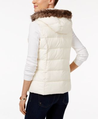 Charter Club Petite Faux-Fur-Trim Puffer Vest