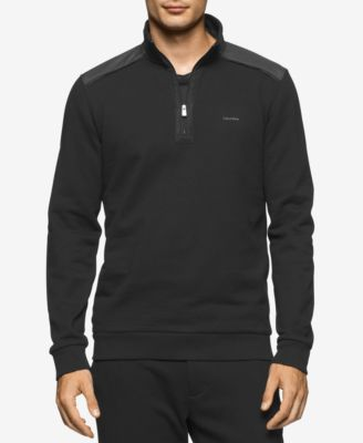 Calvin Klein Mens Quarter-Zip Mixed-Me..