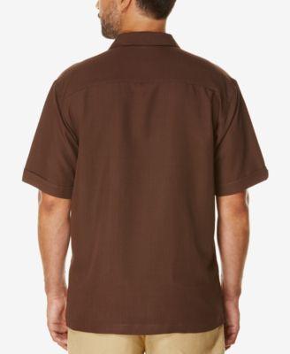 Cubavera Mens Short-Sleeve Embroidered Panel Shirt