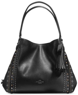 COACH Bandana Rivets Edie Shoulder Bag 31 in Pebble Leather