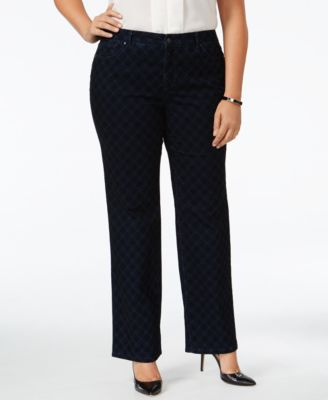 Charter Club Plus Size Lexington Flocked Straight-Leg Jeans, Only at Macy's