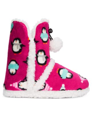 PJ Couture Plush Penguin Printed Booties