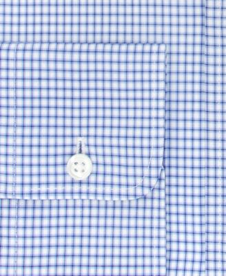 Tommy Hilfiger Mens Classic-Fit Non-Iron Medium Blue Check Dress Shirt