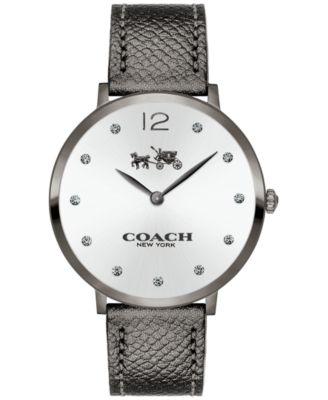 COACH Women's Slim Easton Gray Leather Strap Watch 35mm 14502686