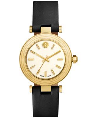 Tory Burch Womens Swiss Classic T Black Leather Strap Watch 36mm TRB9003