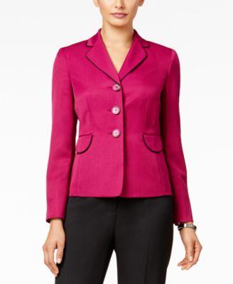Le Suit Colorblocked Three-Button Pantsuit