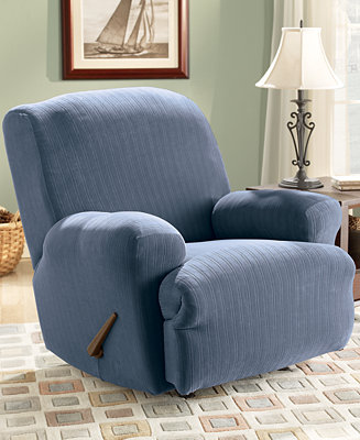 Sure fit stretch pinstripe recliner slipcover slipcovers for Sure fit stretch slipcovers clearance