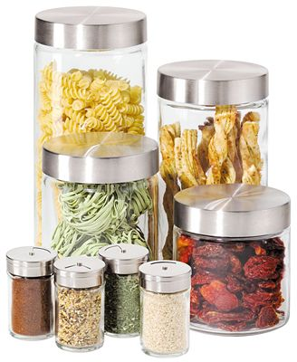 oggi canisters amp spice jars glass 8 piece set kitchen oggi brushed stainless steel canister www