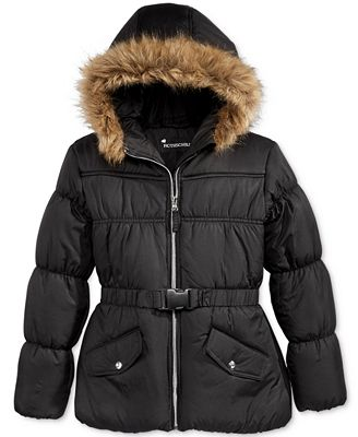 S. Rothschild Hooded & Belted Puffer Jacket with Faux-Fur Trim, Big Girls (7-16)