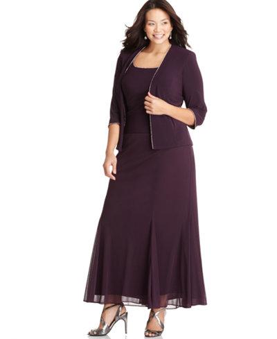 Alex Evenings Plus Size Dress And Jacket Rhinestone Trim