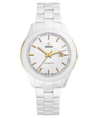 Rado Watch Womens Swiss Automatic Hyperchrome White High-Tech Ceramic Bracelet 36mm R32257012