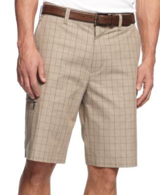 Greg Norman for Tasso Elba Mens Big & Tall 5 Iron Plaid Performance Golf Shorts