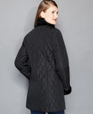 The Fur Vault Rabbit-Fur-Trimmed Quilted Barn Jacket
