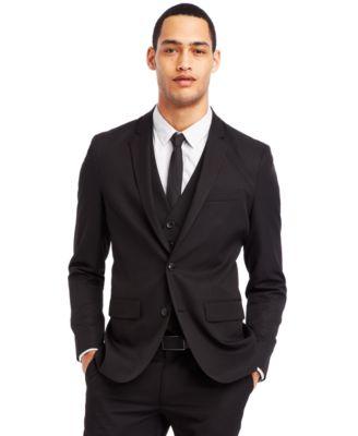 Kenneth Cole Reaction Black Two-Button Suit Jacket