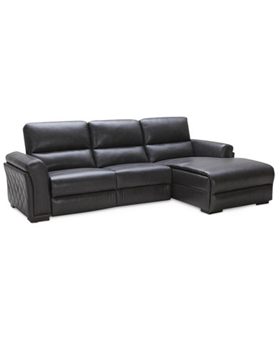 Jessi Quilted Side Leather 3 Piece Sectional Sofa With 1