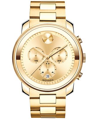 movado s swiss chronograph bold gold ion plated