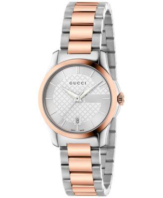 Gucci Womens Swiss G-Timeless Two-Tone PVD Stainless Steel Bracelet Watch 27mm YA126528