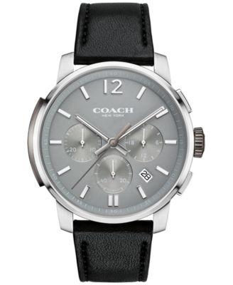 COACH MEN'S BLEECKER CHRONO BLACK LEATHER STRAP WATCH 42MM 14602013, MACY'S EXCLUSIVE