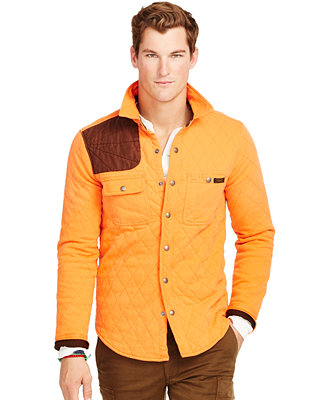 Polo ralph lauren quilted jersey shirt jacket coats for Polo shirt with jacket