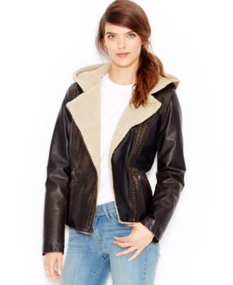 Levis® Faux-Leather Hooded Moto Jacket