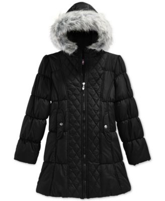 Hawke & Co. Girls' Quilted Puffer Coat with Faux Fur Trim