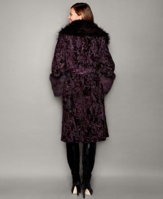 The Fur Vault Fox-Fur-Trim Swakara Lamb Fur Coat