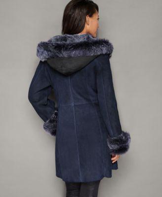 The Fur Vault Hooded Shearling Lamb Coat