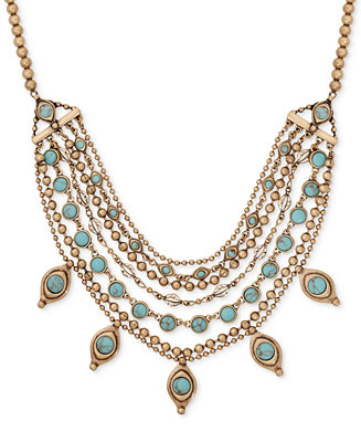 Lucky brand gold tone turquoise look stone layered collar for Macy s lucky brand jewelry