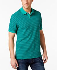 Club Room Big & Tall Feeder-Stripe Mens Polo (Pale Ink Blue / Pretty Pine)
