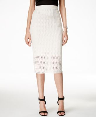 Alfani Perforated Pull-On Pencil Skirt