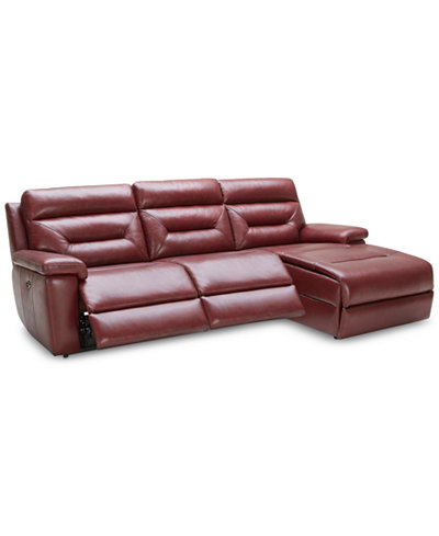 Quinton 3 piece leather sofa with chaise 2 power motion for 3 piece leather sectional sofa with chaise